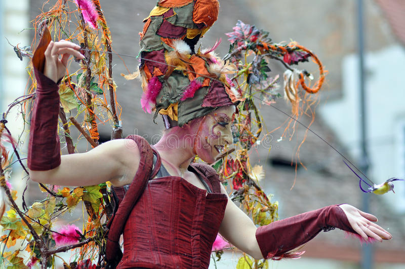Girl dancing. Sibiu city - center avenue - in middle Romania, Transylvania land is now host of International Festival of Theater May 25th - June 3rd 2012 stock photos