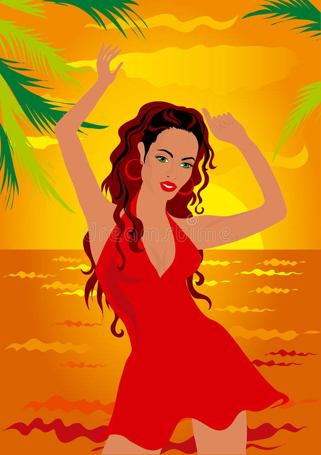 Girl dancing on the beach royalty free illustration