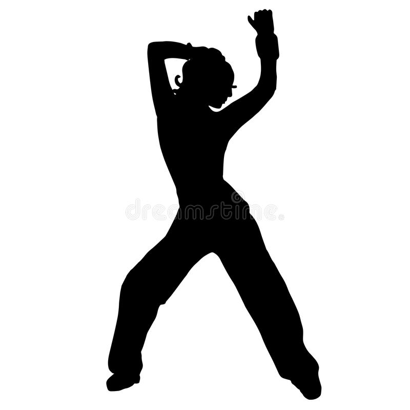 The girl is dancing. Belly dancing. Silhouette. street dance, go royalty free illustration