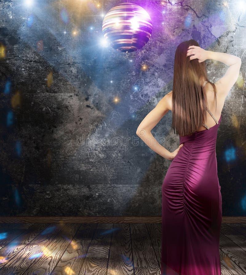 Girl dancing in a disco pub royalty free stock photos