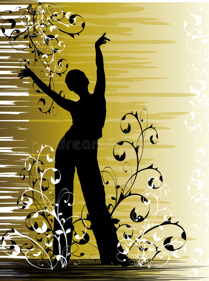 Girl dancing in flowers stock images