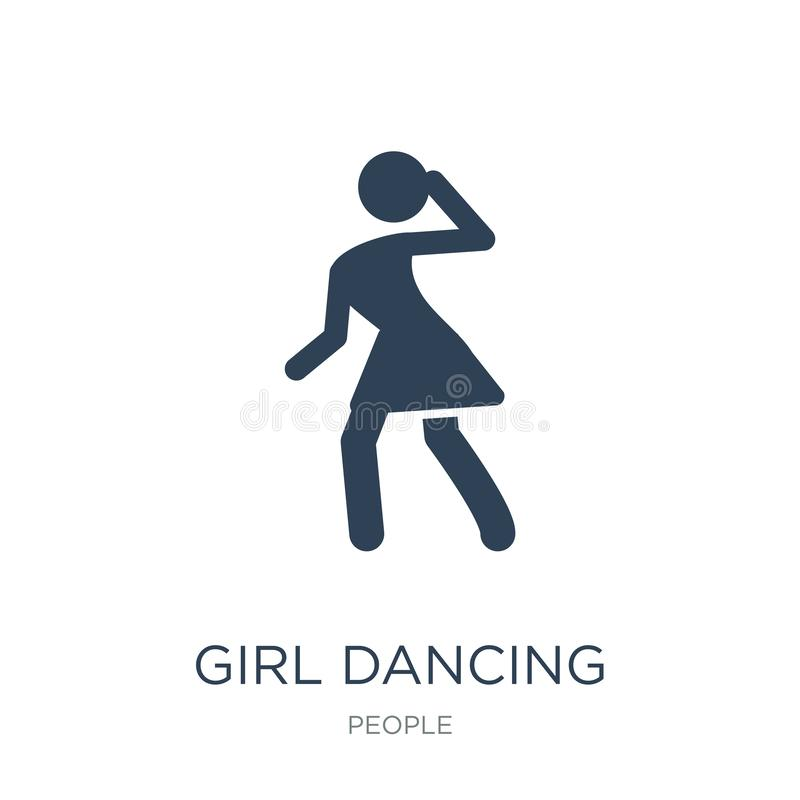 girl dancing icon in trendy design style. girl dancing icon isolated on white background. girl dancing vector icon simple and royalty free illustration