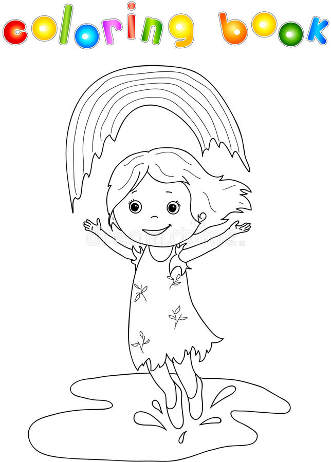 Download Girl Dancing In The Rain With Rainbow Stock Vector - Illustration of decorative, circumference: 54991538