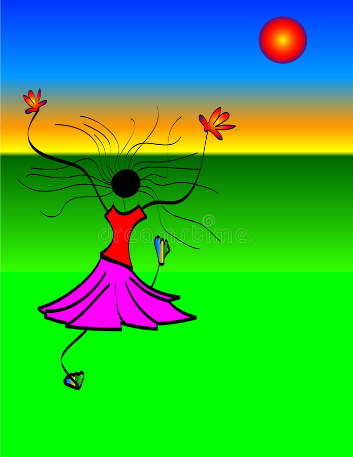 Download Girl Dancing in Sun stock illustration. Illustration of woman - 46490