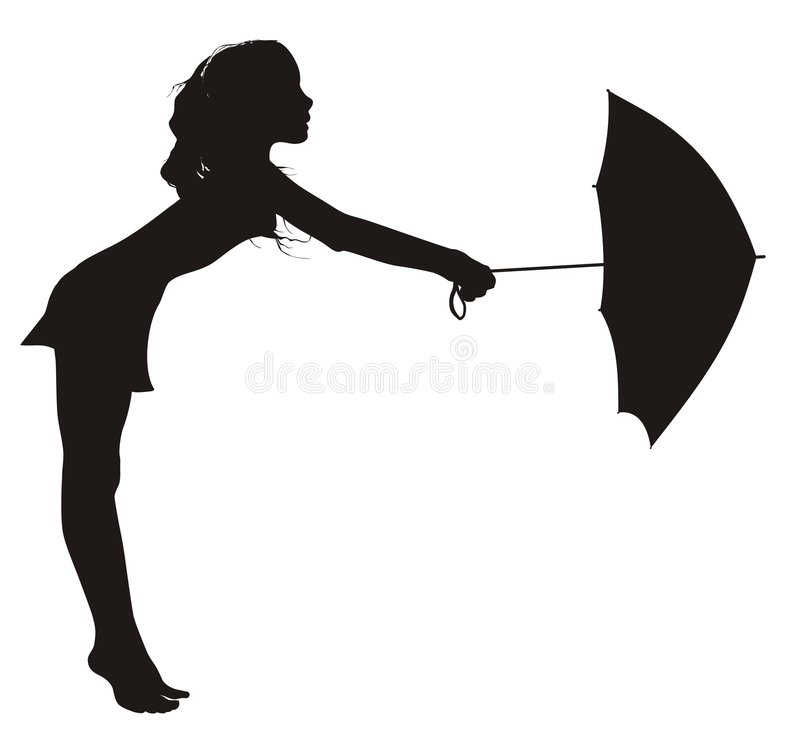 Girl dancing with umbrella royalty free stock image