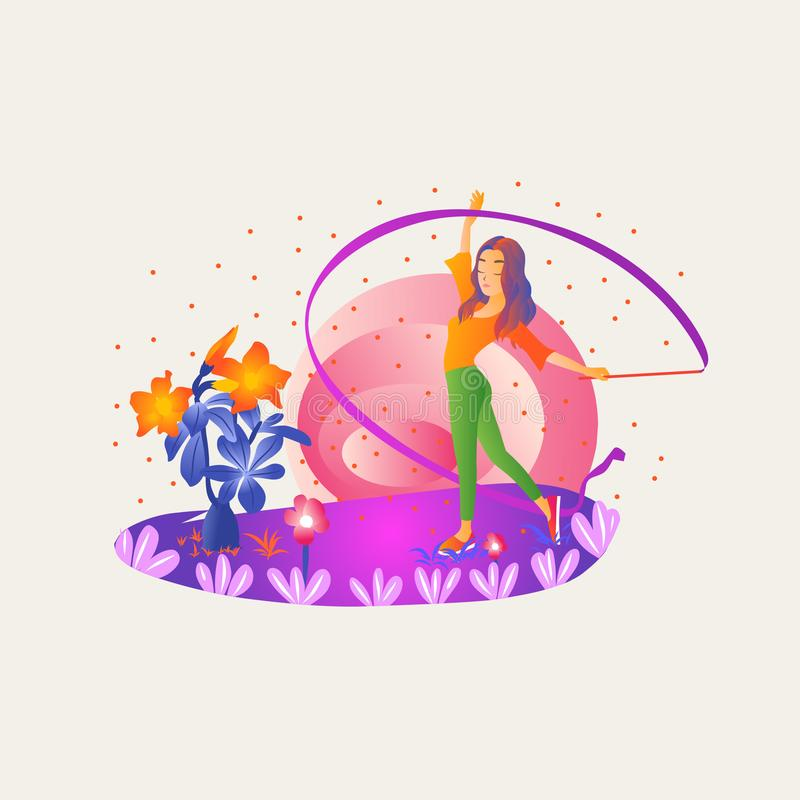 Girl dancing royalty free illustration