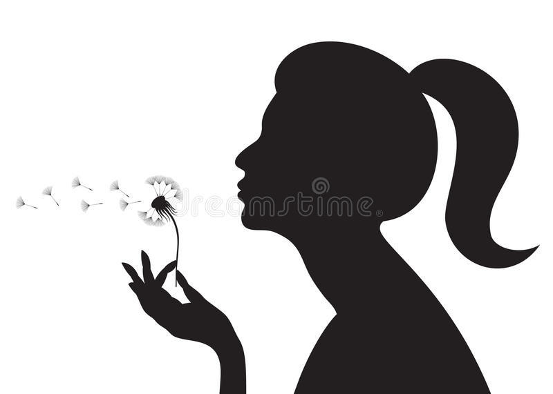 Download Girl with a dandelion stock vector. Image of nose, fortune - 15810818