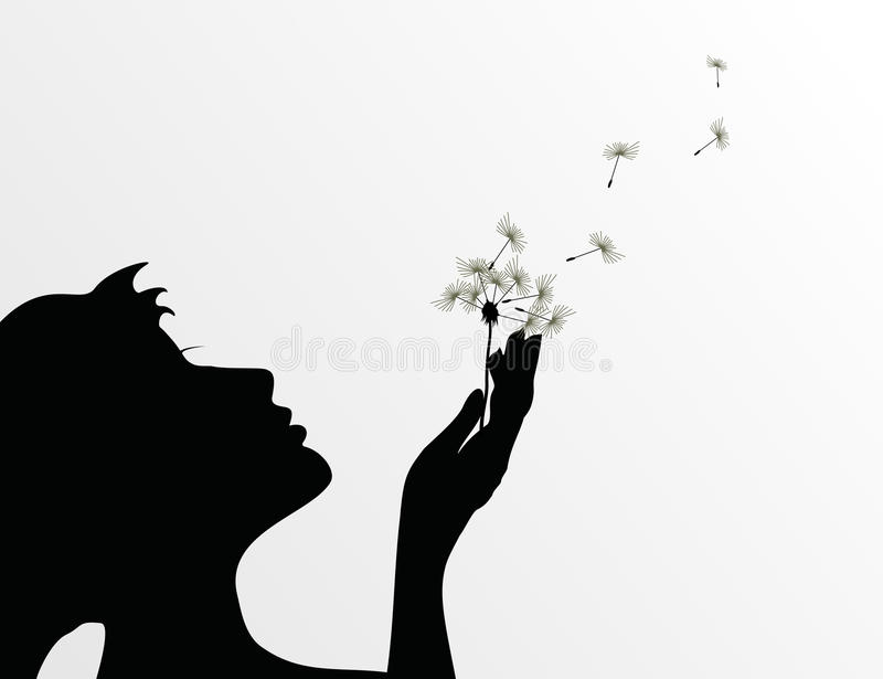 Girl and a dandelion. The girl blows on a flower a dandelion. A illustration stock illustration