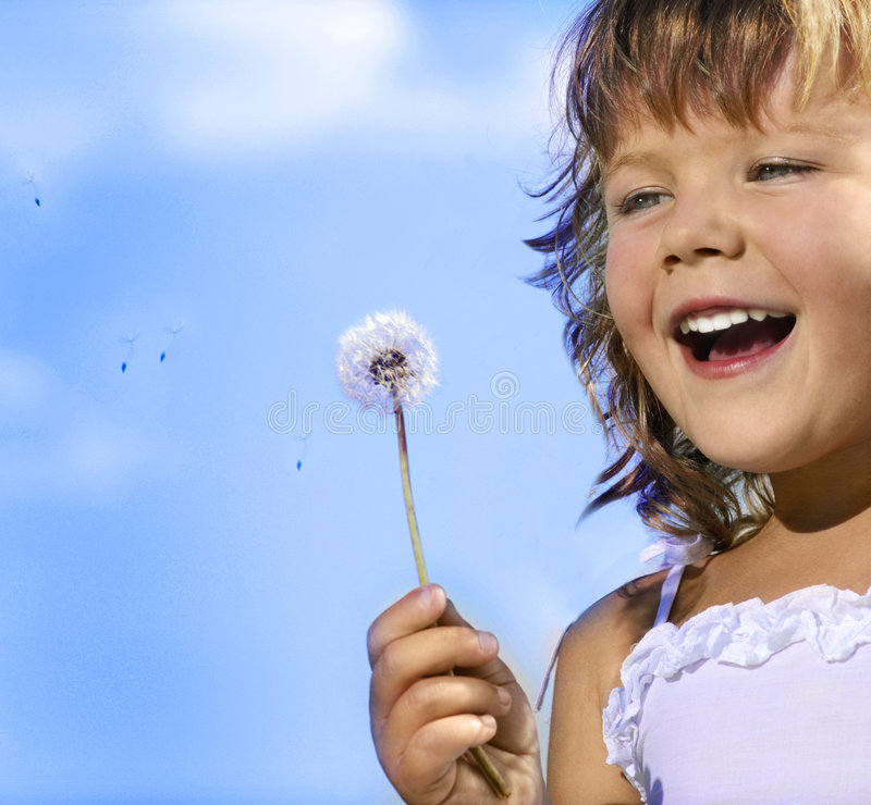 Download Girl with dandelion stock image. Image of colorful, face - 9148911