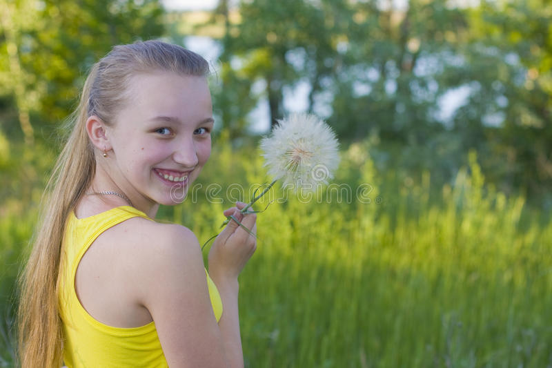Download Girl with a dandelion stock photo. Image of summer, park - 33433964