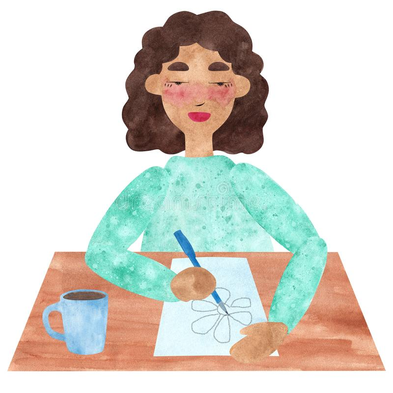 A girl with dark curly hair in blue, drawing and relaxing in a pause. Hand drawn watercolor collage of a girl with dark curly hair in blue, drawing and relaxing vector illustration