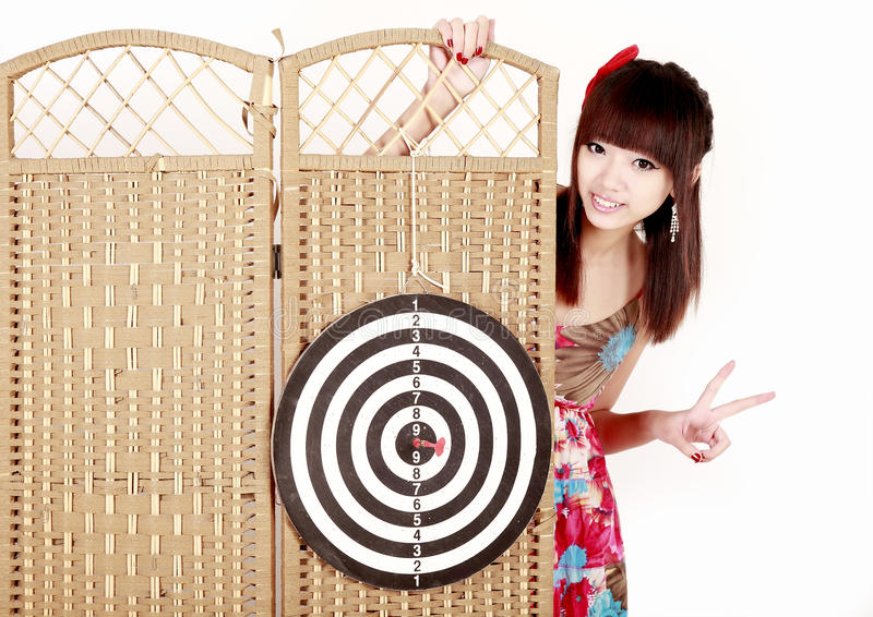 Download Girl with dartboard stock photo. Image of confidence - 12409148