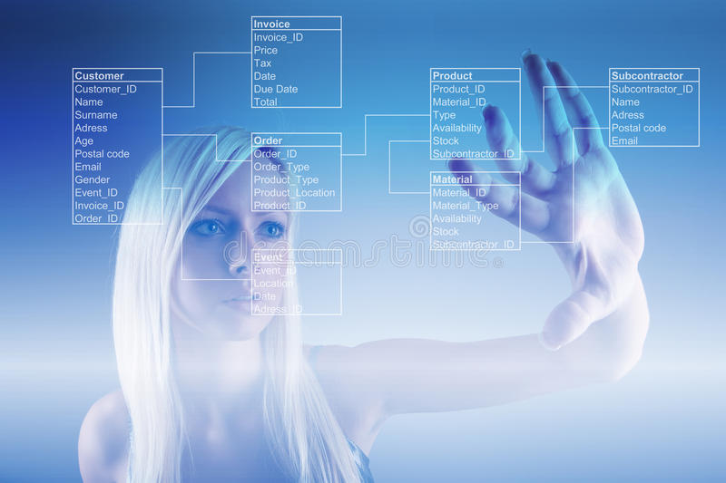 Girl with Database Tables royalty free stock image