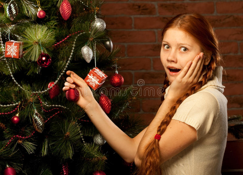 Download Girl Decorate The Christmas Tree Stock Image - Image: 17268321