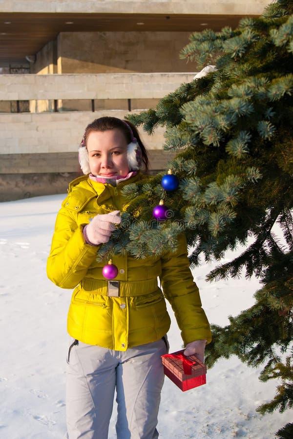 Girl decorating christmas tree stock image