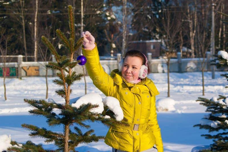 Girl decorating christmas tree royalty free stock photos