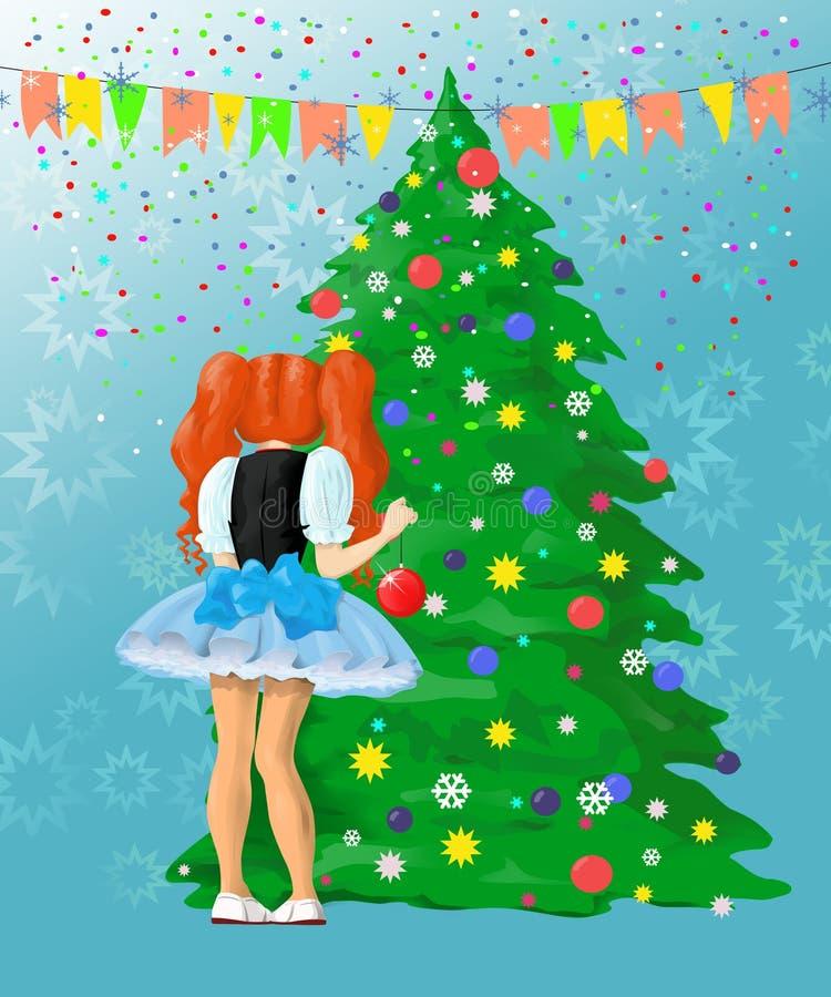Girl decorating Christmas tree royalty free stock photography