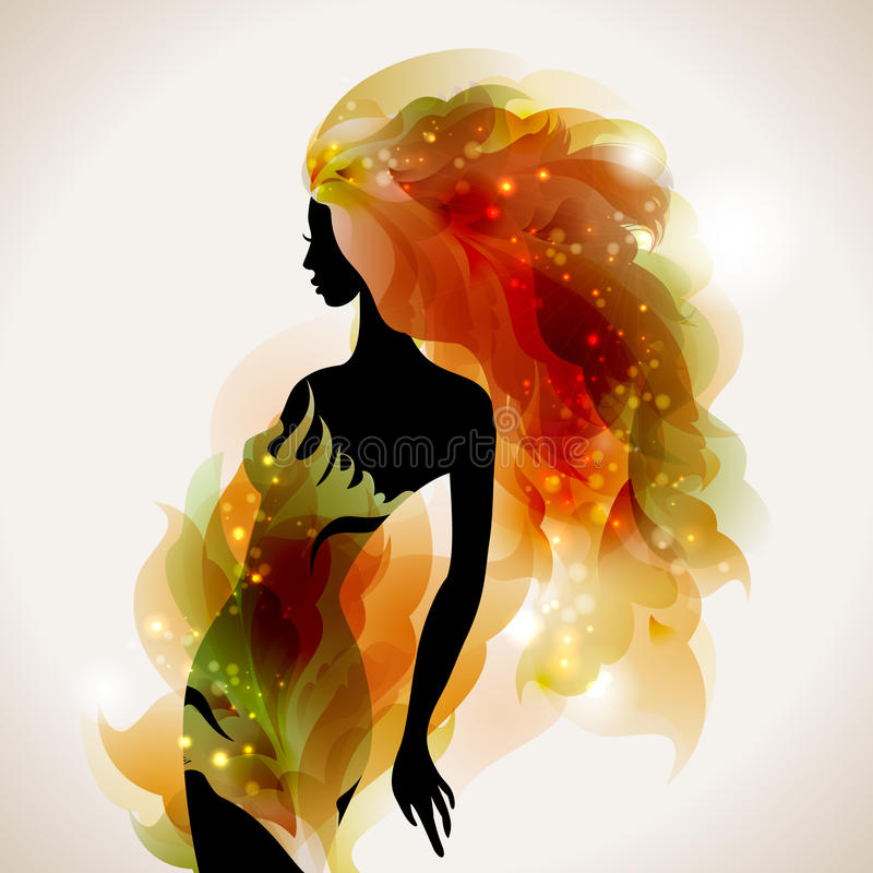 Girl decorative. Abstract decorative composition with girl royalty free illustration