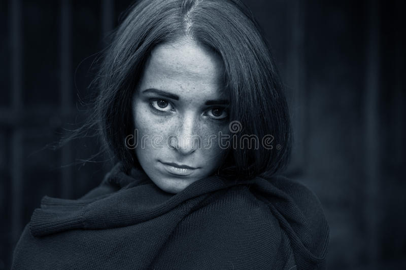 Girl in depression on dark background. Young Girl in depression on dark background stock photos
