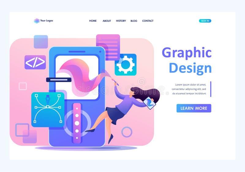 Girl designer s'occupe de la conception de l'application, du développement du menu de conception graphique Plat 2D caractère Land illustration libre de droits