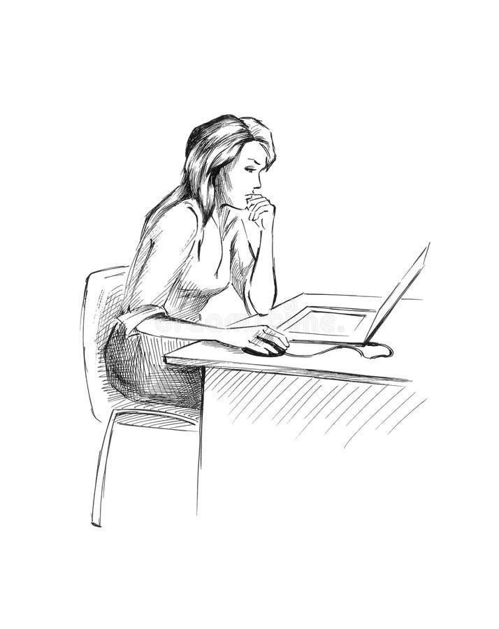 Girl at the desk royalty free illustration