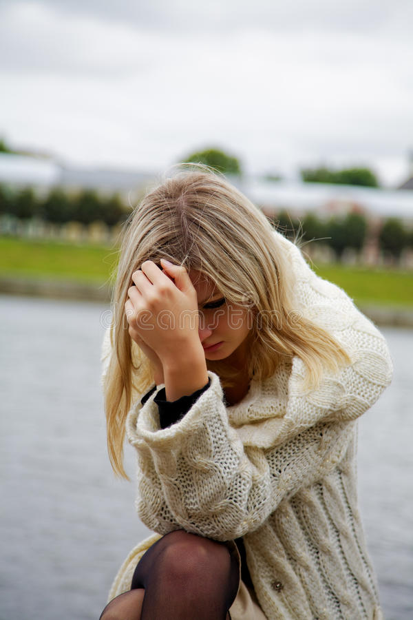 The girl in despair and grief royalty free stock photos