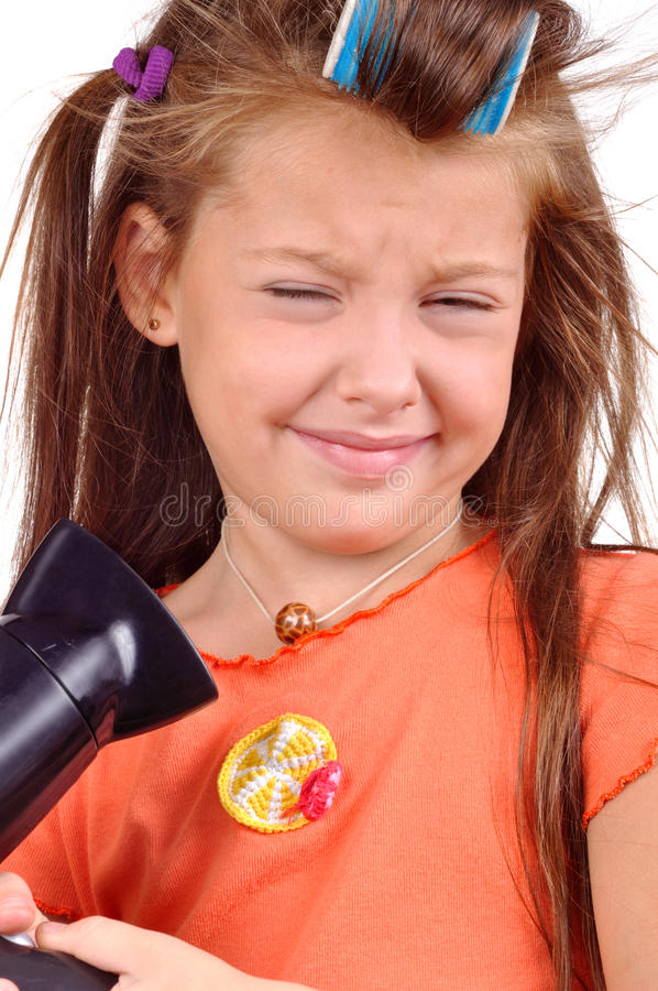 Download Girl With Developing Hair And Hairdryer Stock Photo - Image of hairbrush, hairdresser: 16285800
