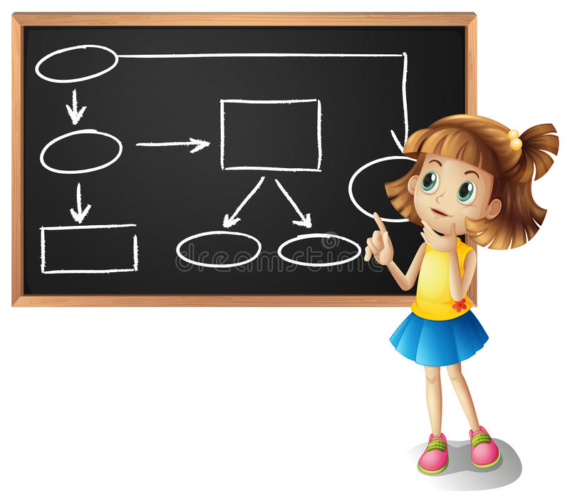 Girl and diagram showing flowchart on board. Illustration vector illustration