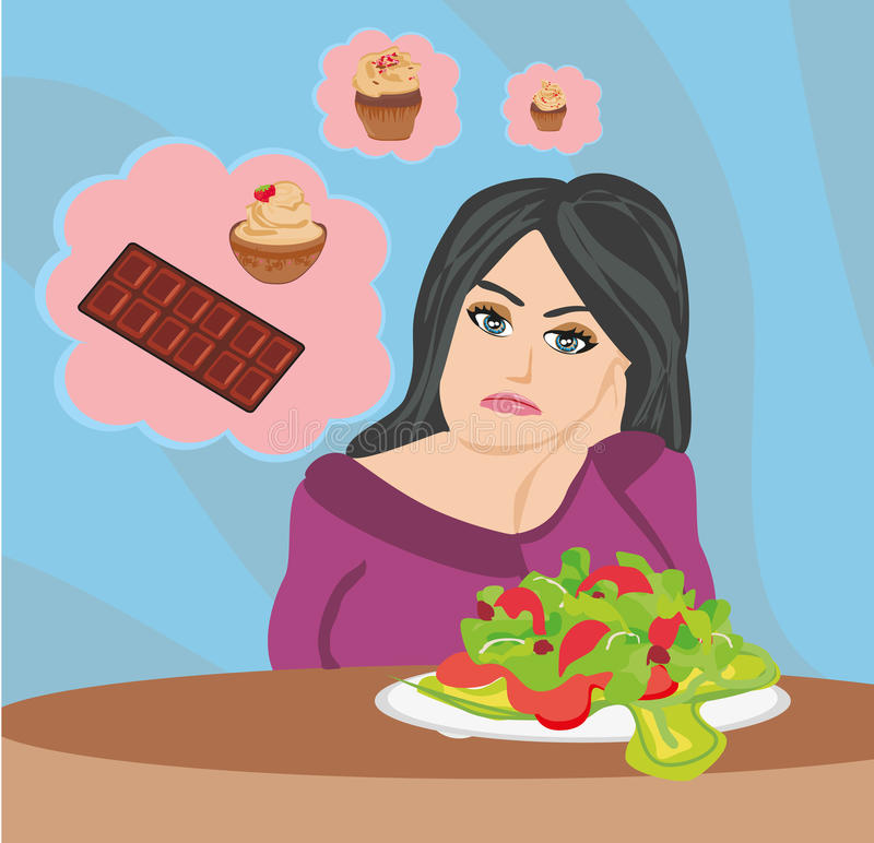 Girl on a diet. Vector Illustration stock illustration