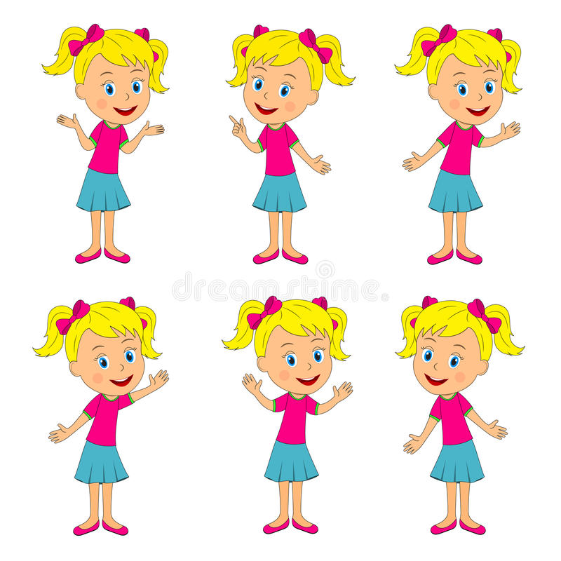 Girl with different hand position royalty free illustration