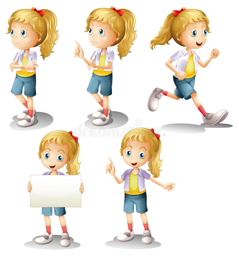 A girl with different positions royalty free illustration