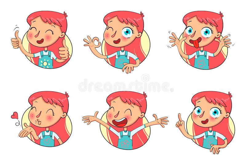 Girl in different situations. Funny grimace. Girl in different situations. Emotions on face. Funny grimace, shows tongue, thumbs up, air kiss, sign of okay vector illustration