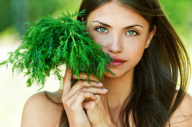 Girl with dill stock photo