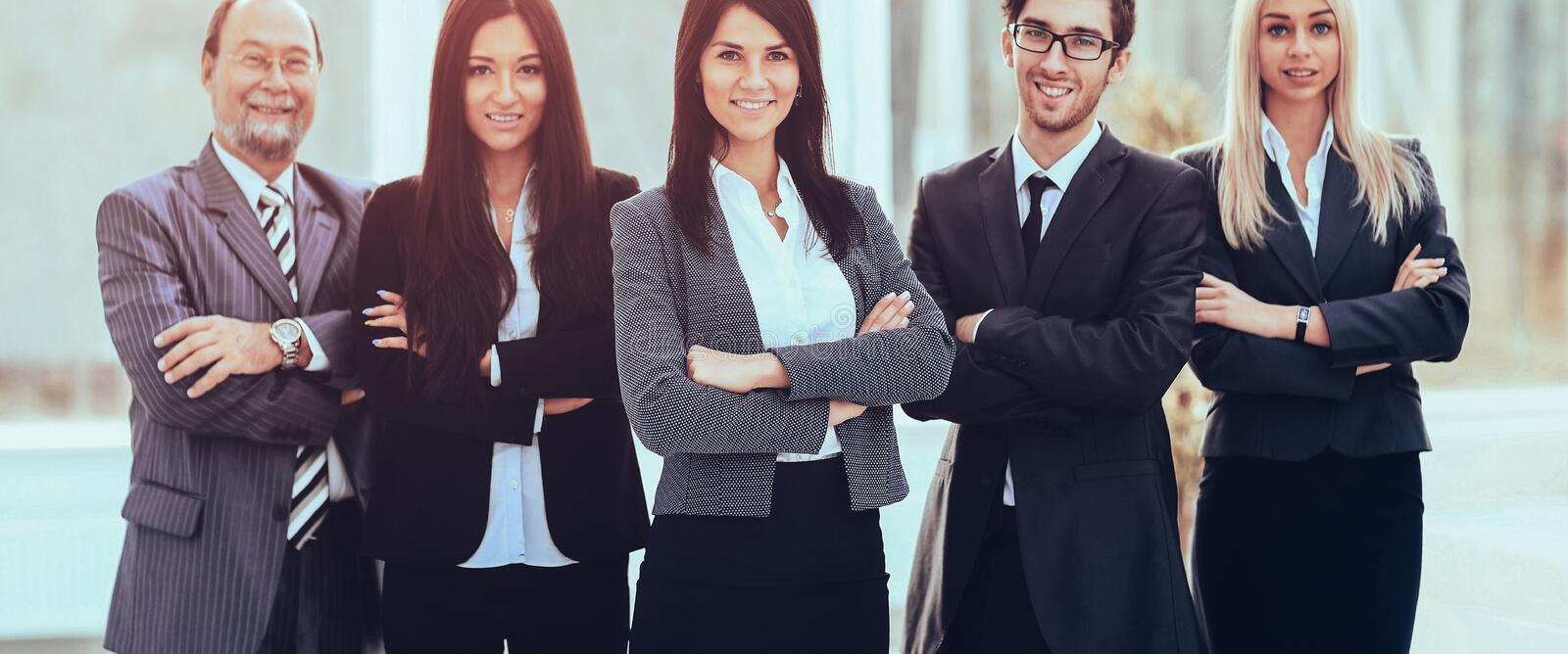 Girl director and business team on office background stock images