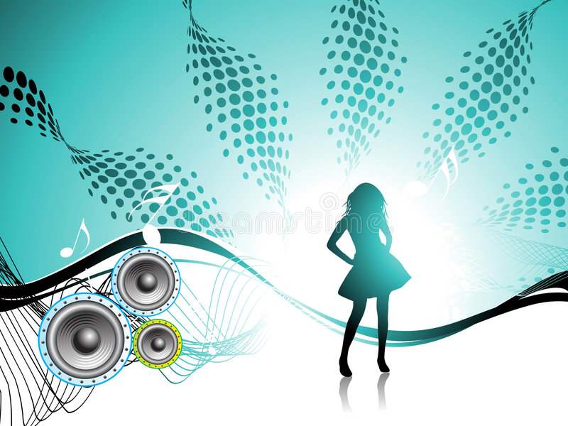 Girl. Disco party. stock illustration