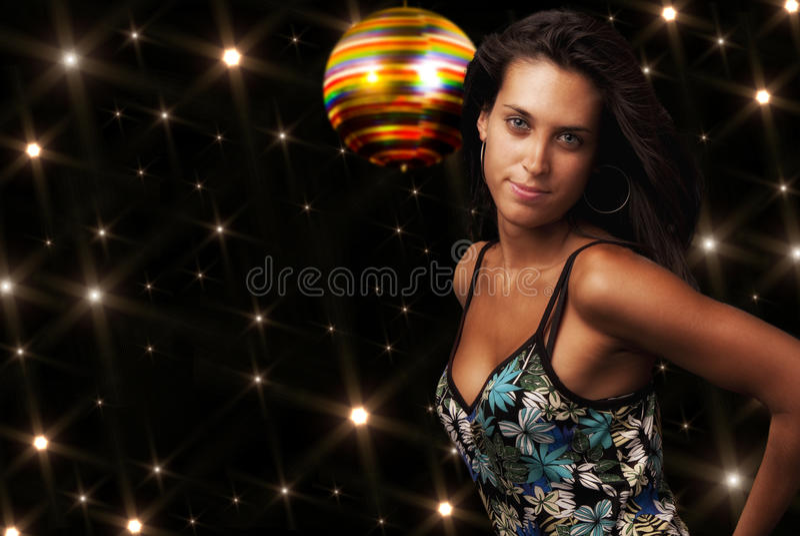 Girl and disco pub stock image