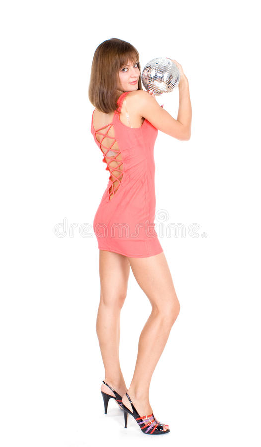 Girl with discoball stock photography