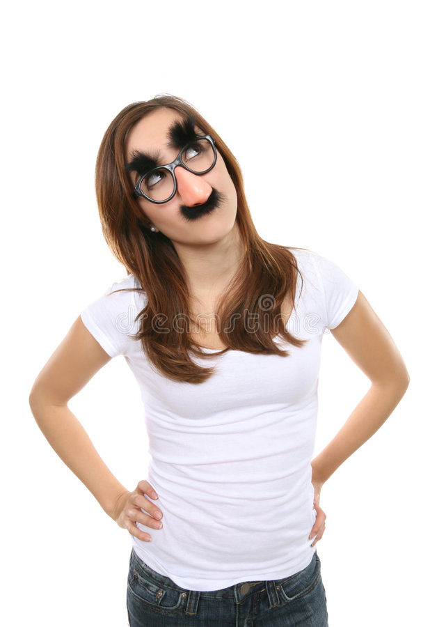 Girl with Disguise stock image