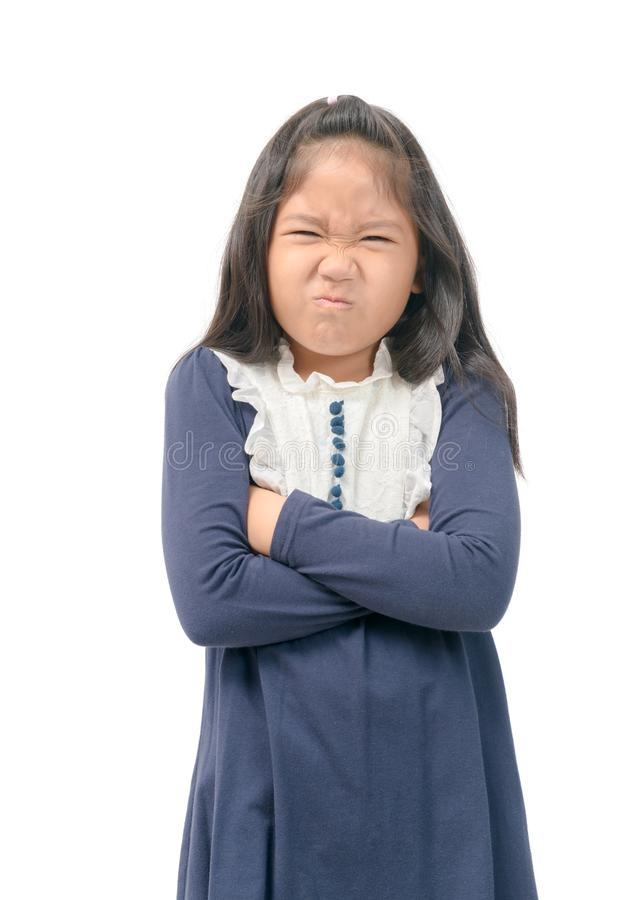 Girl disgust something stinks bad smell situation. Kid gesture smells bad. Portrait of girl disgust something stinks bad smell situation. Human face expression stock images