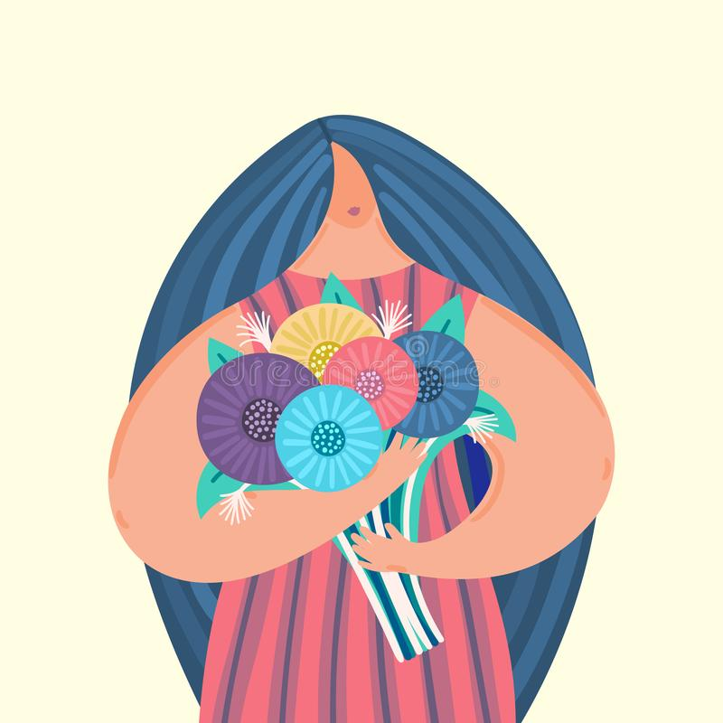 Girl with disproportionate figure holds bouquet of flowers. Flat design. Trendy style. Body positive. Woman in dress. This can be used for greeting card royalty free illustration