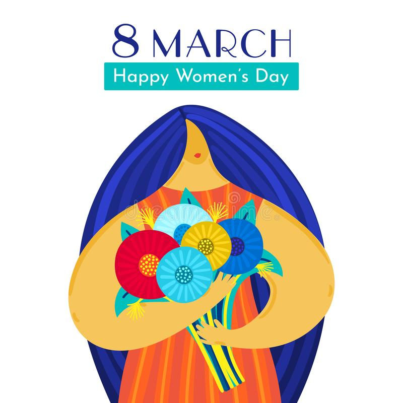 Girl with disproportionate figure holds bouquet of flowers. Flat design. Trendy style. 8 March. Happy women`s day. This can be used for greeting card, banner royalty free illustration