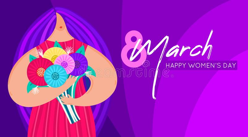 Girl with disproportionate figure holds bouquet of flowers. Flat design. Trendy style. 8 March. Happy women`s day. This can be used for greeting card, banner vector illustration