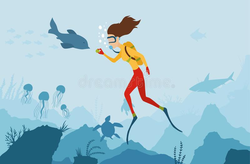 The girl diver playing with a dolphin. Scuba Diver. Underwater world. Girl dive on a coral reef. Summer vacation, sport stock illustration