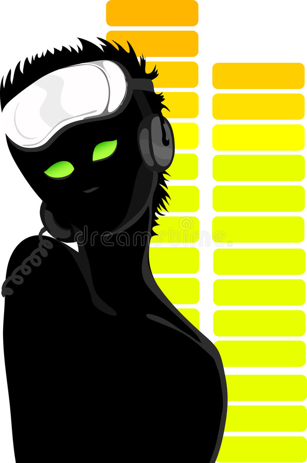 Girl DJ's silhouette. Shown on the background of the equalizer EPS8 format royalty free illustration