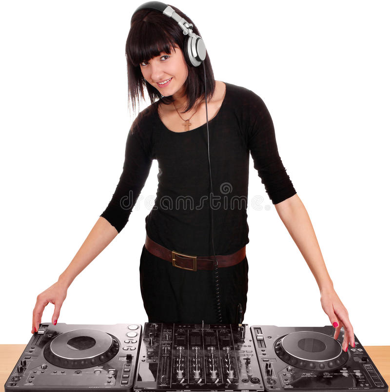 Girl dj with turntables. Beauty girl dj with turntables royalty free stock image