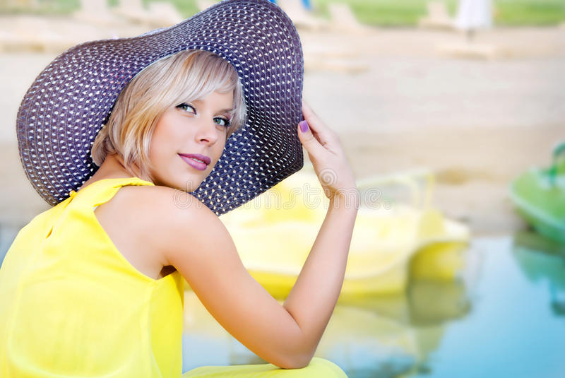 Download A girl  on the dock stock photo. Image of relax, bright - 26039486