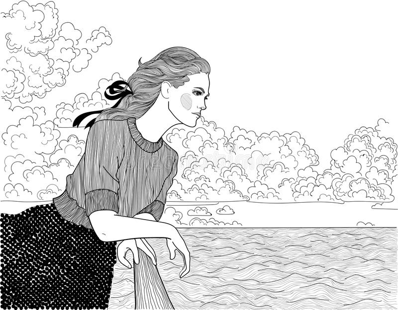 Girl on the dock. Vector beautiful girl looking into the distance at the sea and clouds on the dock stock illustration