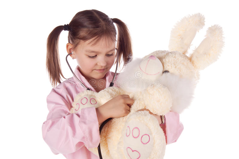 Girl, A Doctor, The Child, Rabbit Toy Stock Photography