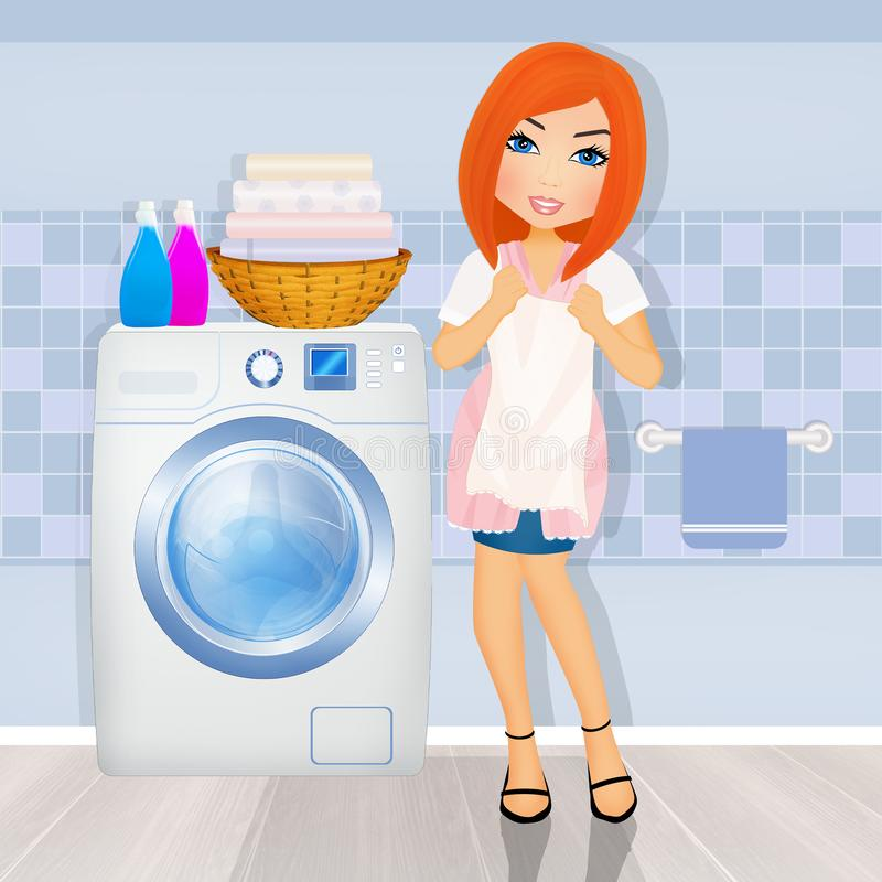 Girl does laundry in the laundry room. Illustration of girl does laundry in the laundry room vector illustration