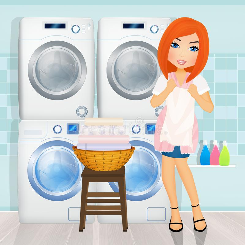 Girl does laundry in the laundry room. Illustration of girl does laundry in the laundry room royalty free illustration